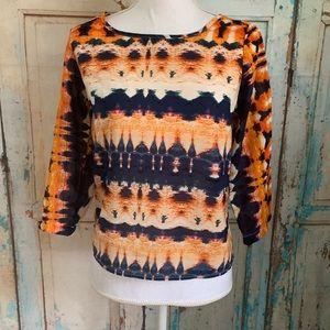 Sheet open back 3/4 sleeve blouse